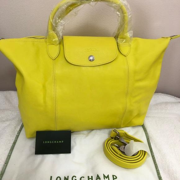 LONGCHAMP Le Pliage 'Cuir' Medium Leather bag